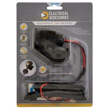 Oxford Weatherproof Dual USB socket (5V 2Amp) & 10amp fused 1.2mtr loom EL102