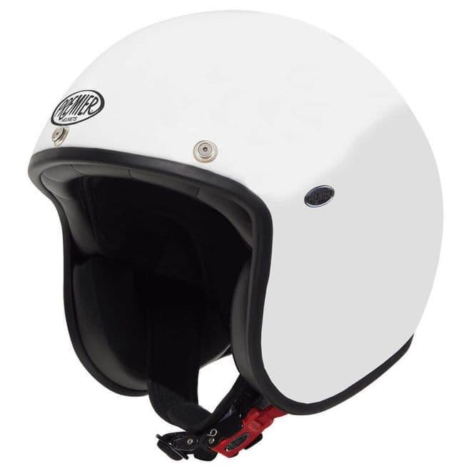 Premier Classic U8 Carbon Composite Motorcycle Bike Open Face Helmet Gloss White