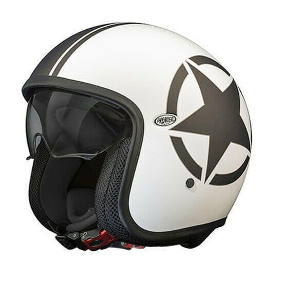 Premier Vintage Star 8 Open Faced Carbon Composite Motorcycle Bike Helmet White