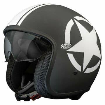 Premier Vintage Star 9 Open Faced Carbon Composite Motorcycle Bike Helmet Black