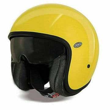 Premier Vintage U12 Carbon Composite Motorcycle Bike Open Face Helmet Yellow