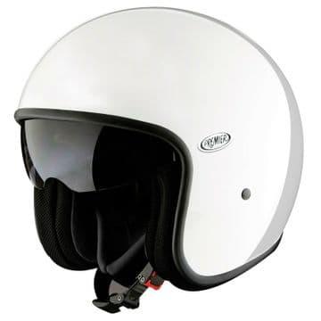 Premier Vintage U8 Carbon Composite Motorcycle Bike Open Face Helmet Gloss White
