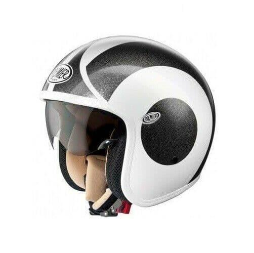 Premier Vintage V6 Carbon Composite Motorcycle Bike Open Face Helmet Grey White