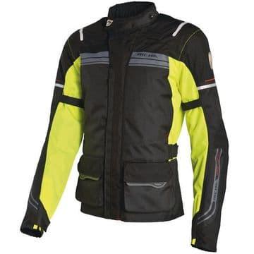Richa Phantom Waterproof Textile Motorcycle Jacket D3O Armour - Black / Fluo - M