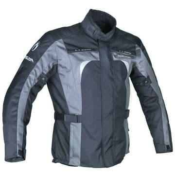 Richa Sprint Waterproof Textile Motorcycle Motorbike Jacket - Black / Grey - 3XL