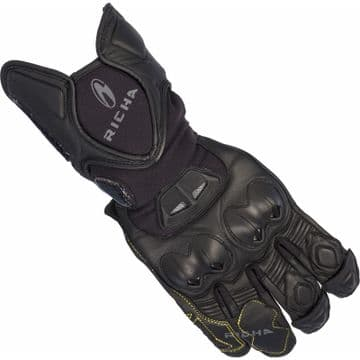 Richa Suzuka Motorcycle Gloves With Knuckle Panel & Reinforced Stiching Black