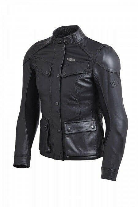 Triumph Ladies Beaufort 2 Black Leather Motorcycle Motorbike Jacket D3O Armour