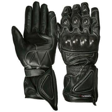Weise Black Rain Armoured Waterproof Leather Motorcycle Motorbike Glove