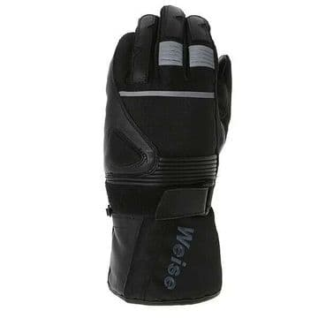 Weise Circuit Waterproof Leather Textile Mix Motorcycle Motorbike Gloves - Black