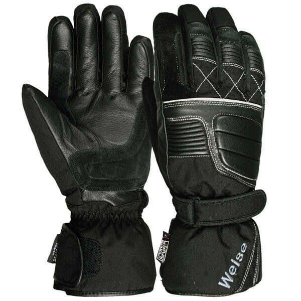 Weise Grid Waterproof Leather Textile Mix Motorcycle Motorbike Glove - Black