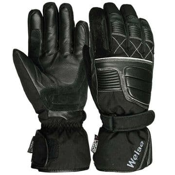 Weise Grid Waterproof Leather Textile Mix Motorcycle Motorbike Glove - Black