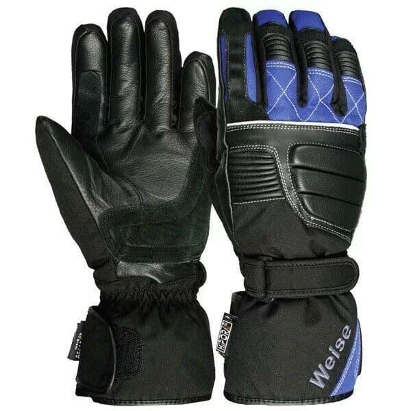 Weise Grid Waterproof Leather Textile Mix Motorcycle Motorbike Glove Black Blue