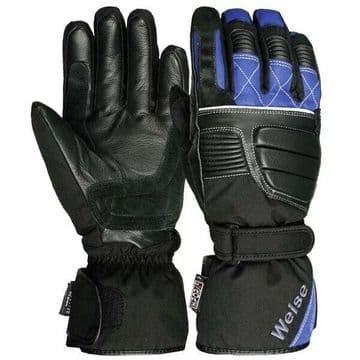 Weise Grid Waterproof Leather Textile Mix Motorcycle Motorbike Glove Black Blue