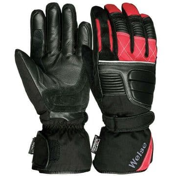 Weise Grid Waterproof Leather Textile Mix Motorcycle Motorbike Glove - Black Red