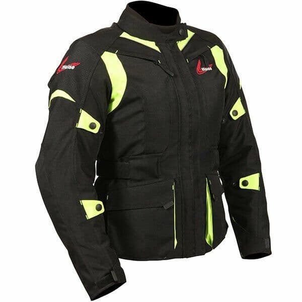 Weise Ladies Pioneer Waterproof Motorcycle Motorbike Textile Jacket - Black Fluo