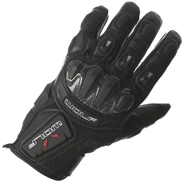 Wolf 2475 Kangaroo GT-S Sport Leather Motorcycle Motorbike Glove - Black