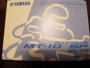 Yamaha MT-10 SP Owners Manual Italian BW8-28199-H0 Uso E Manutenzione
