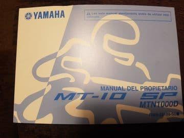 Yamaha MT-10 SP Owners Manual Spanish BW8-28199-S0 Manual Del Propietario