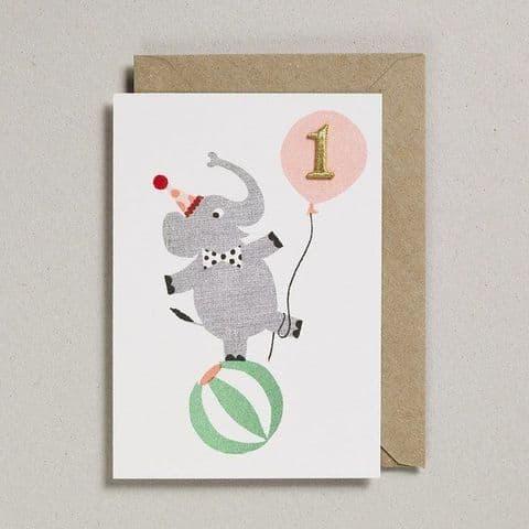 Age 1 Birthday card - Elephant