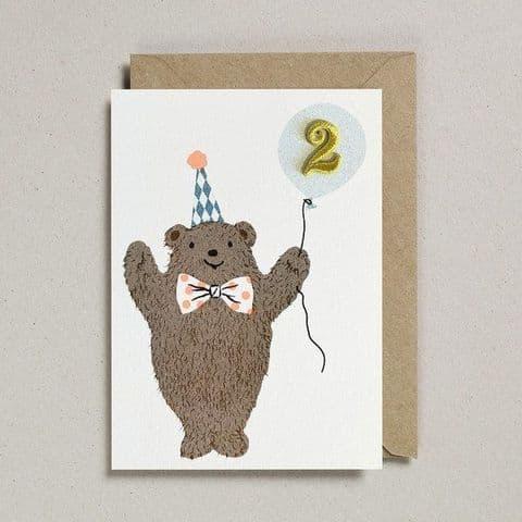 Age 2 Birthday card - Bear