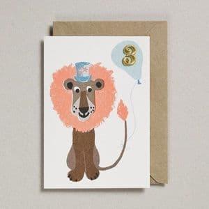 Age 3 Birthday card - Lion