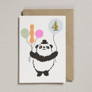 Age 4 Birthday card - Panda