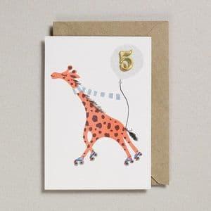 Age 5 Birthday card - Giraffe