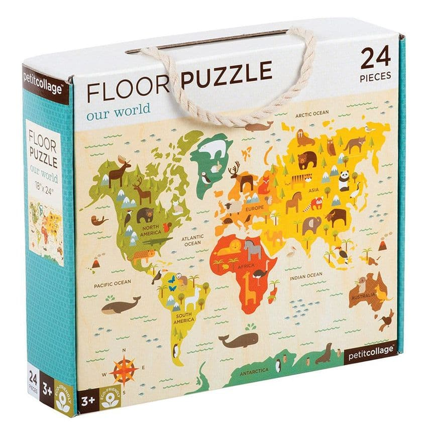 Map of the world floor puzzle by Petit Collage
