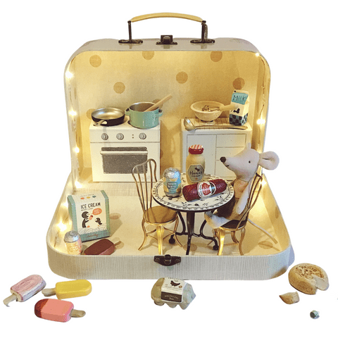 Maileg kitchen in a suitcase with mouse
