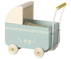 Maileg pram for baby mouse - blue