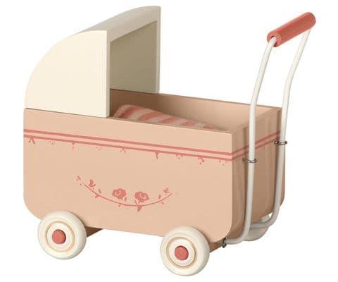 Maileg pram for baby mouse - powder pink