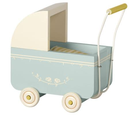 Maileg pram for brother and sister - blue