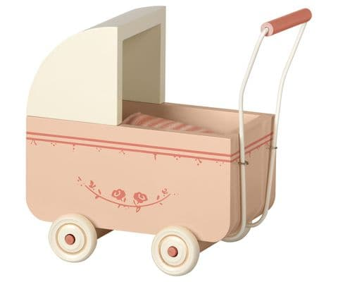 Maileg pram for brother and sister - powder pink