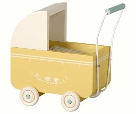 Maileg pram for brother and sister - yellow