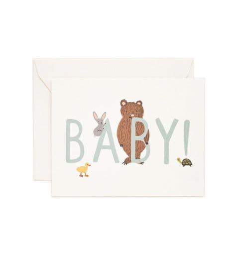 New baby  card - blue bear