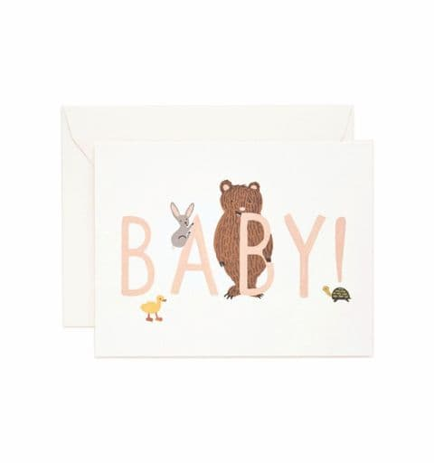 New baby card - pink bear