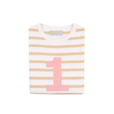 Number 1 Breton T-Shirt - biscuit and pink