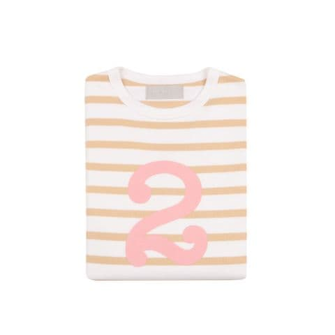 Number 2 Breton T-Shirt - biscuit and pink