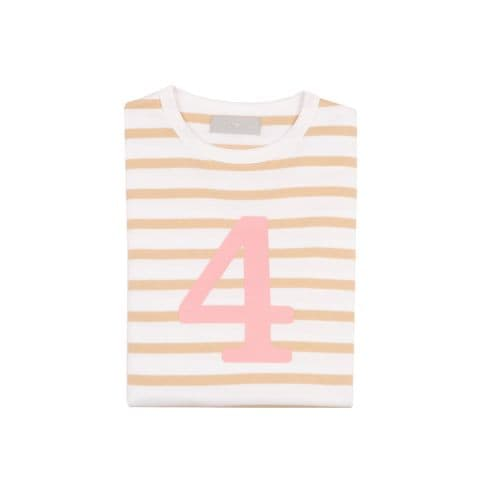 Number 4 Breton T-Shirt - biscuit and pink