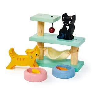 Pet cats wooden play set