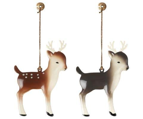 PRE-ORDER set of 2 metal ornaments, bambi