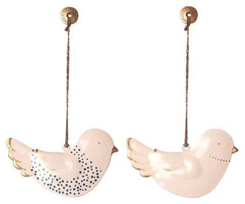 Set of 2 metal ornament - birds