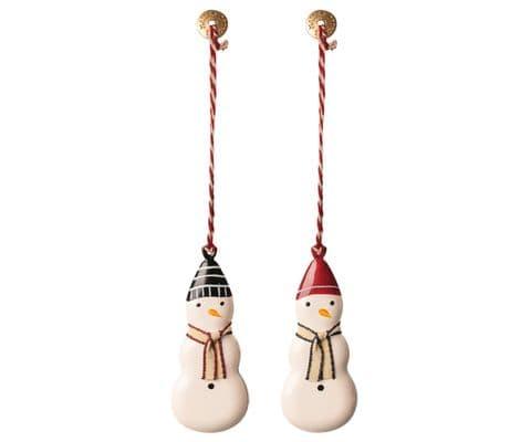 Set of 2 metal ornaments - snow men