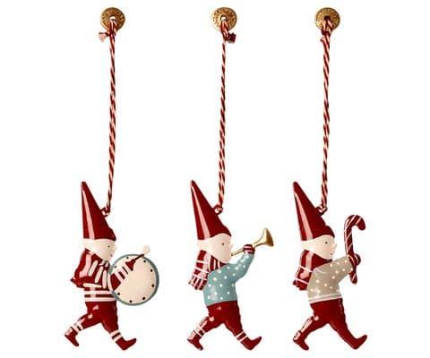 Set of 3 metal ornaments in a box - Pixies