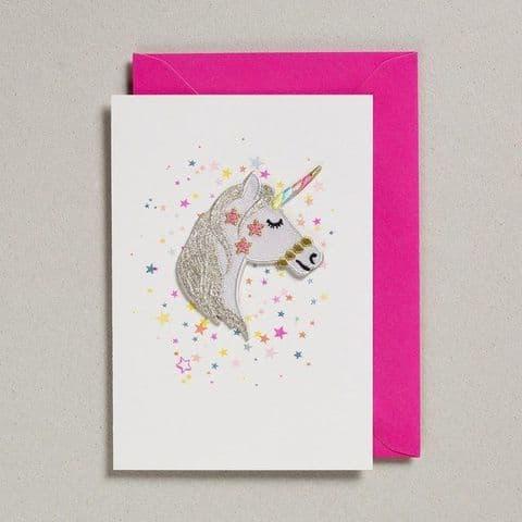 Unicorn fabric patch card