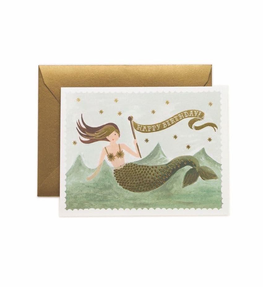 Vintage mermaid Birthday Card by Rifle Paper Co