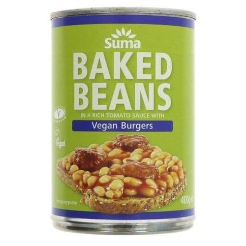 Suma Baked Beans & Vegan Burgers 400g