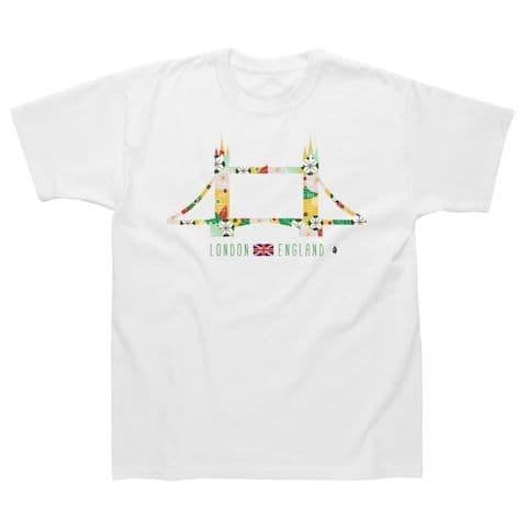 Classic T-Shirt - London - Tower Bridge Flowers LG025