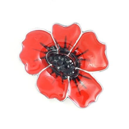 Enamel poppy brooch 30mm
