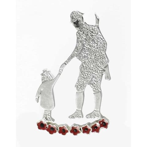 Soldier With Child Brooch 38mm